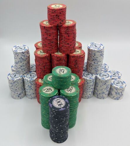 Set Of 735 Scroll Ceramic Poker Chips Cash Set Vegas Colors Dye Sub Textured