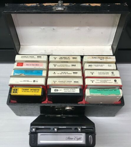 Vintage Stereo Eight 8-Track Player Bundle with Box/ 15 Tapes