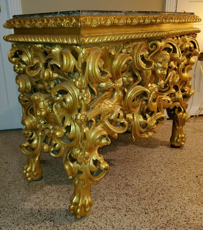 Early 1700s Baroque Italian Louis XV Giltwood Console , Refitted: Bar- Buffet