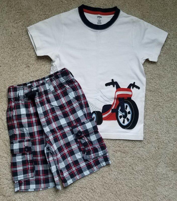 GYMBOREE Boys Sz 5 Big Wheel Tee & Plaid Shorts ~