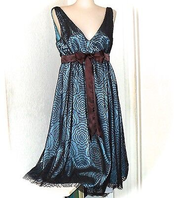 Blue Brown Prom Dress (Eliza J New York Aqua Blue Brown Lace Cocktail Party Prom Bridesmaid Dress SZ)