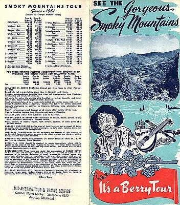 Berry Tour 1951 Brochure Great Smoky Mountains Fares Itineraries Photos Map