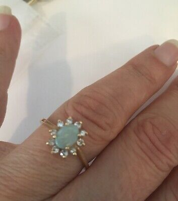 14k gold opal diamond princess Diana ring size -