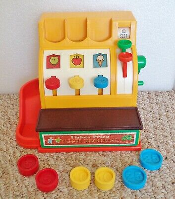 VINTAGE 1975 FISHER PRICE CASH REGISTER #926 WITH COINS ~WORKS ~COMPLETE & CLEAN