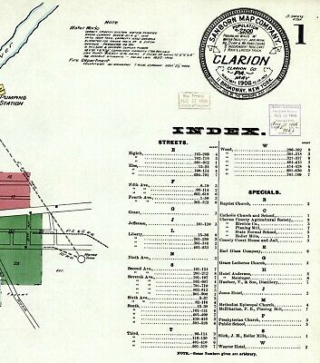 Clarion, Pennsylvania~Sanborn Map©sheets~(8) in  color ~made in 11906