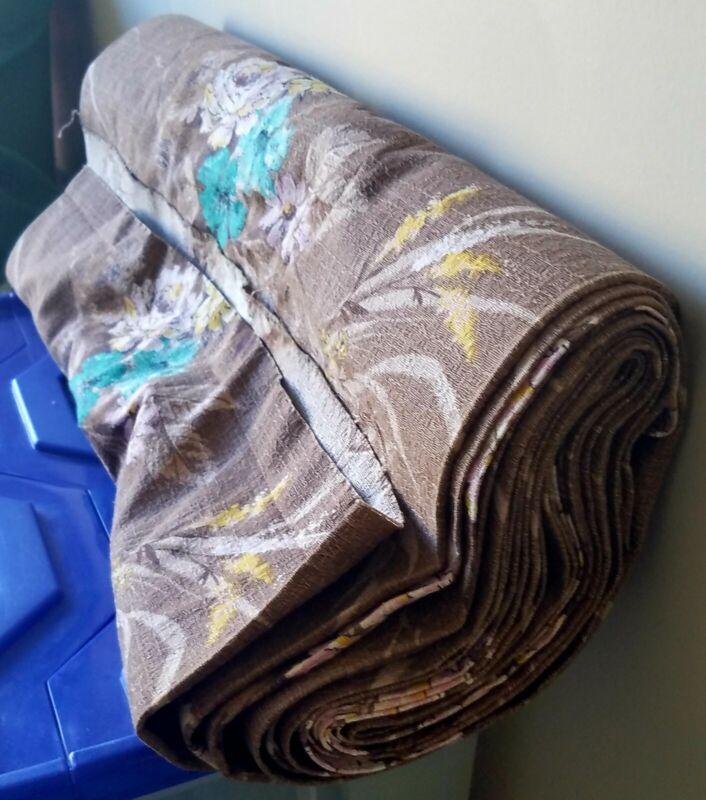 "Vtg Mid-Century Barkcloth Fabric  Bolt 12 YARDS 48""W Chocolate & Floral Design"