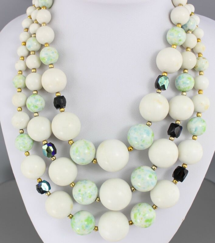 Three Strand Vintage White Bead Necklace Lucite