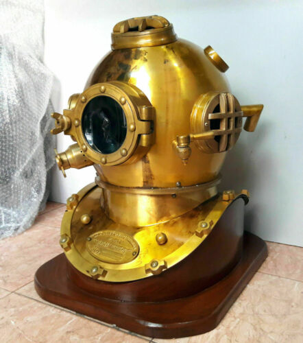 Antique Morse Navy Diver Vintage Diving Helmet Mark V Deep Sea Scuba Gift W/base