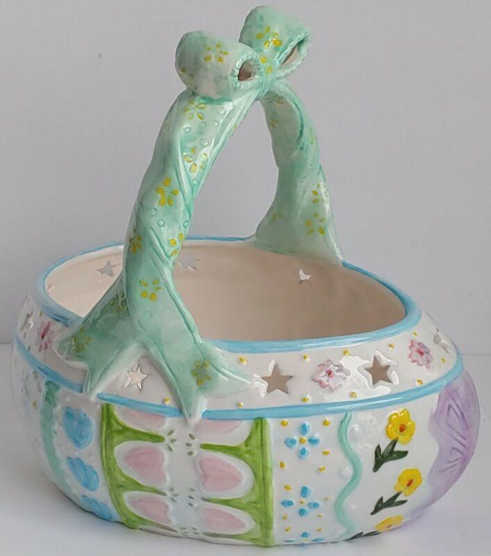Vintage Handpainted Ceramic Easter Basket Decorative Spring Pastel Easter Decor