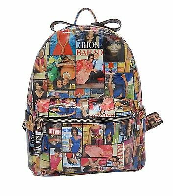 New Michelle Obama Magazine Style Backpack Purse Handbag Multicolored