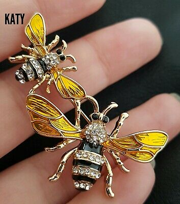 Fab Vintage Style Crystal Enamel Gold Tone  2 Bumble Bee Diamante Brooch Broach