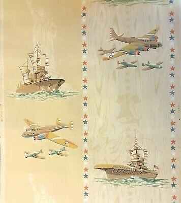 1940's Vintage Wallpaper WW2 American Armed Forces One Roll Army Navy Air Force Air Force Wallpaper