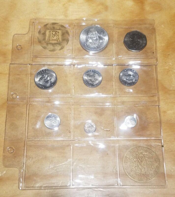 1979 Mexico 8 Coin Mint Set - BU in original sealed plastic. Silver 100 pesos