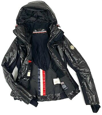 Auth Women's MONCLER GRENOBLE Ski Black Down Jacket Size 1 S/M Casual