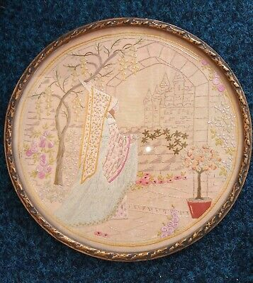 Vintage Embroidery Picture of Lady And Castle in Flower Garden. Beautiful design