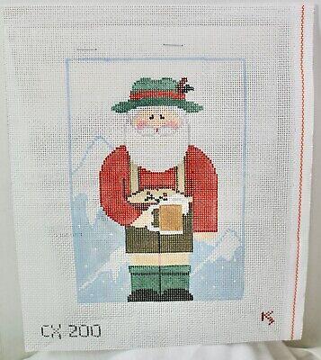 "Handpainted Needlepoint Canvas ""German Ledehosen Santa"" KK stitch guide"