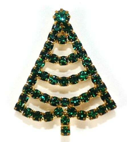 Vintage Christmas Tree Pin Brooch Green Prong Set Rhinestones Gold Tone Unsigned
