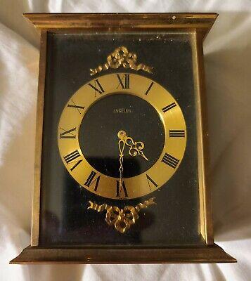 Vintage Angelus Desk Mantel Clock Brass & Black Enamel Quartz