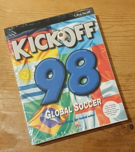 retro computer games - KICK OFF 98 GLOBAL SOCCER PC CD-ROM COMPUTER GAME UBISOFT SEALED RETRO BIG BOX