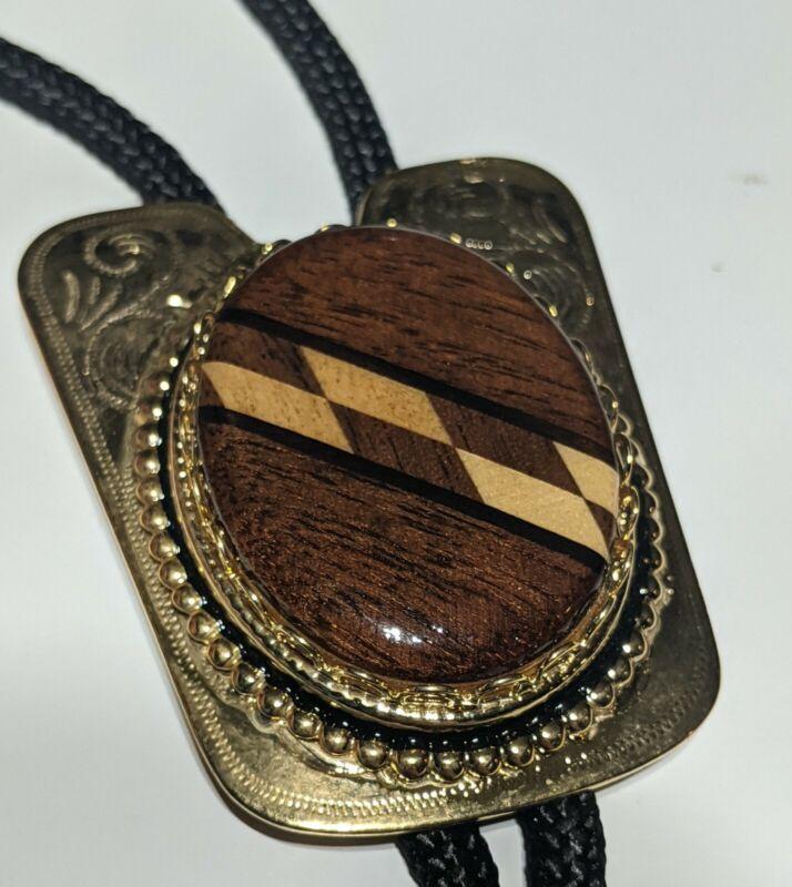 Wood Inlay Bolo Tie