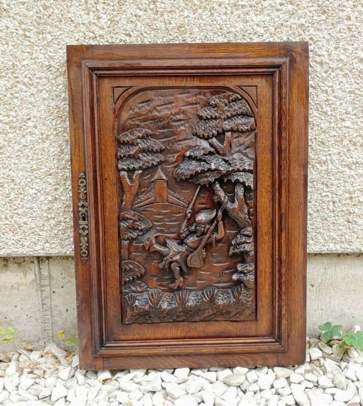 """Antique Victorian 18x25"""" Ornate Scenery Wood Architectural Furniture Door Panel"""