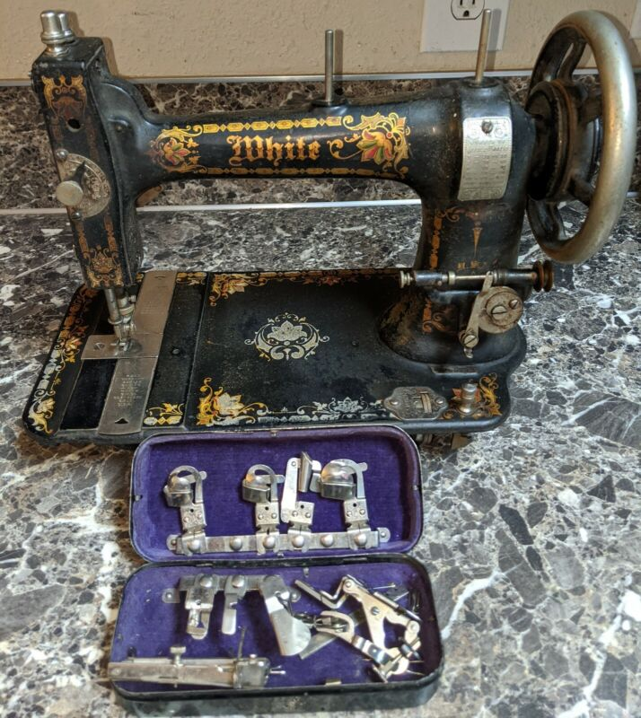 Antique White Rotary Treadle Sewing Machine w/ Accessories 1890
