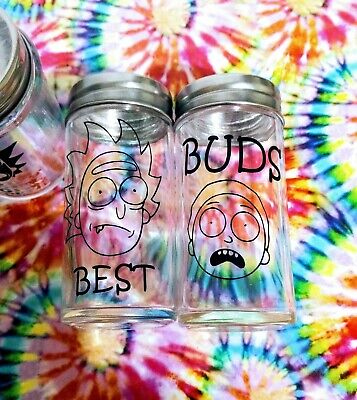 Glass Weed Stash Jar Themed Novelty Storage Containers-  Rick & Morty Best Buds (Best Glass Storage Containers)