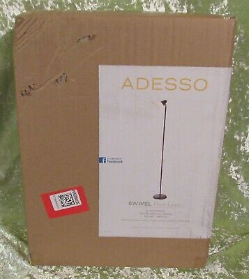 ADESSO Swivel Floor Lamp, Black Finish White Acrylic Shade Rotary Switch