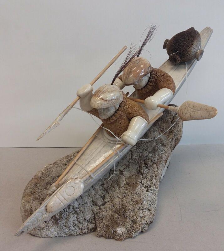 ESKIMO ART Inuit kayak boat Aleut whale hunters fossilized carving