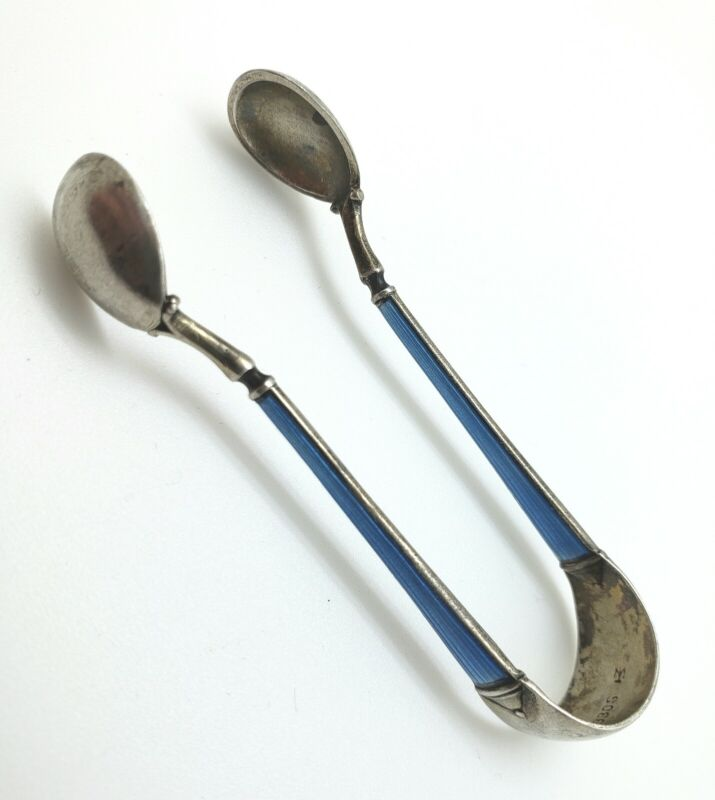 Antique Vintage Cloisonne and Sterling Silver Sugar Tongs