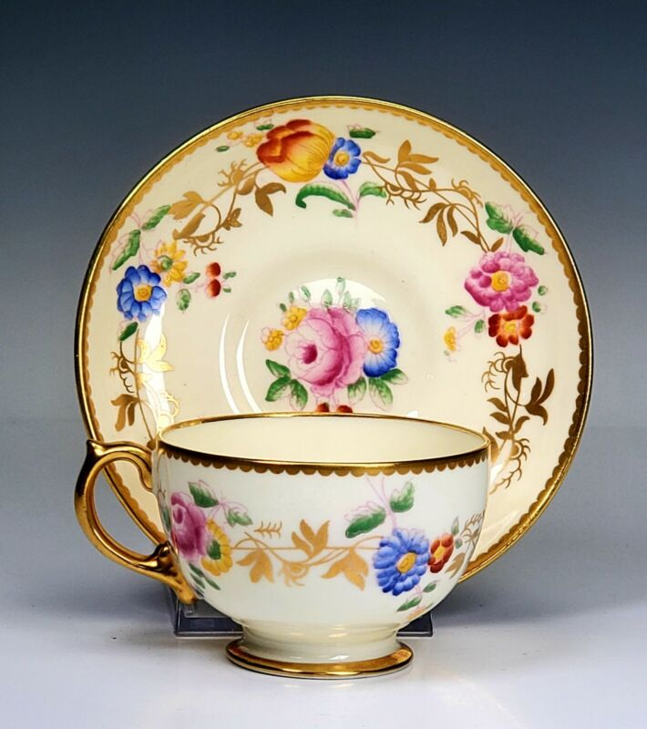 Hammersley Porcelain Floral Gold Cup and Saucer