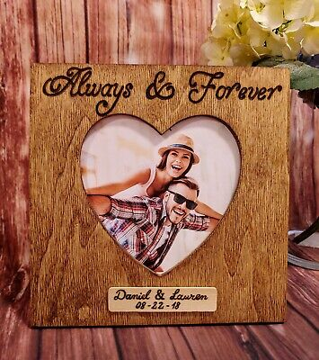 Personalized Always & Forever Picture Frame Engraved Wooden Couple names (Forever Frame)