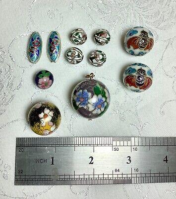 11 Vintage Oriental Cloisonné Enamel Beads/Pendant c.1960-80's