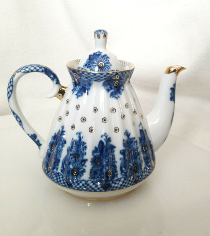 LOMONOSOV▪Porcelain Cobalt BLUE White and GOLD TEAPOT▪ Made in RUSSIA▪ EXC!