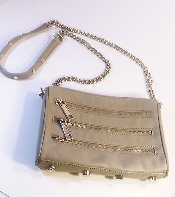 Rebecca Minkoff Gray Leather Crossbody Bag Shoulder Strap With Chain Detail