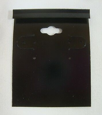 Qty. 100 Black Plastic Earring Cards Hold Merchandise Price Tags