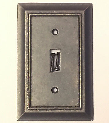 Iron Pewter Finish Single Light Switch Wall Plate Toggle Wallplate - Pewter Single Light