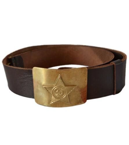 Ussr soldier brown leather belt adjustable brass buckle authentic soviet surplus