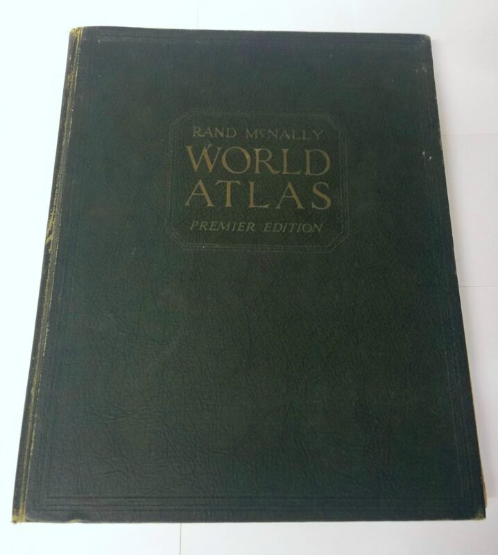 RARE Rand Mcnally World Atlas Premier Edition 1934 Book