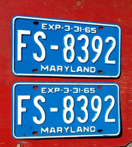 1965 Maryland Nice Original PAIR  FS-8392  License Plates