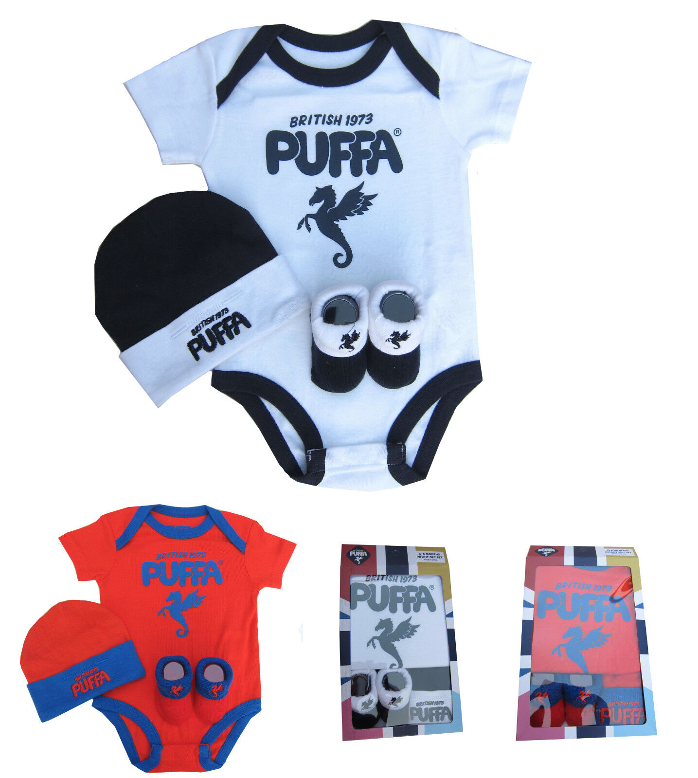 Puffa Since 1973 Boys Romper Bodysuit Hat and Bootie Set 0 6 Months