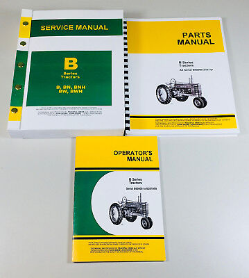 Service Manual Set For John Deere B Bn Bw Bwh Bnh Tractor Parts Operator Repair