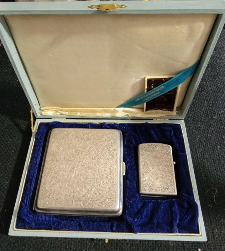 Fine Sterling Silver .950 Cigarette case and Zippo Lighter set