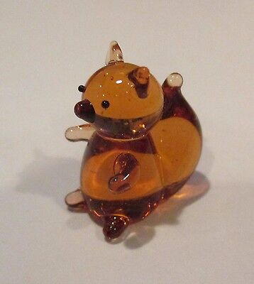 t Brown Squirrel MINIATURE GLASS FIGURINE  blown art mini animal