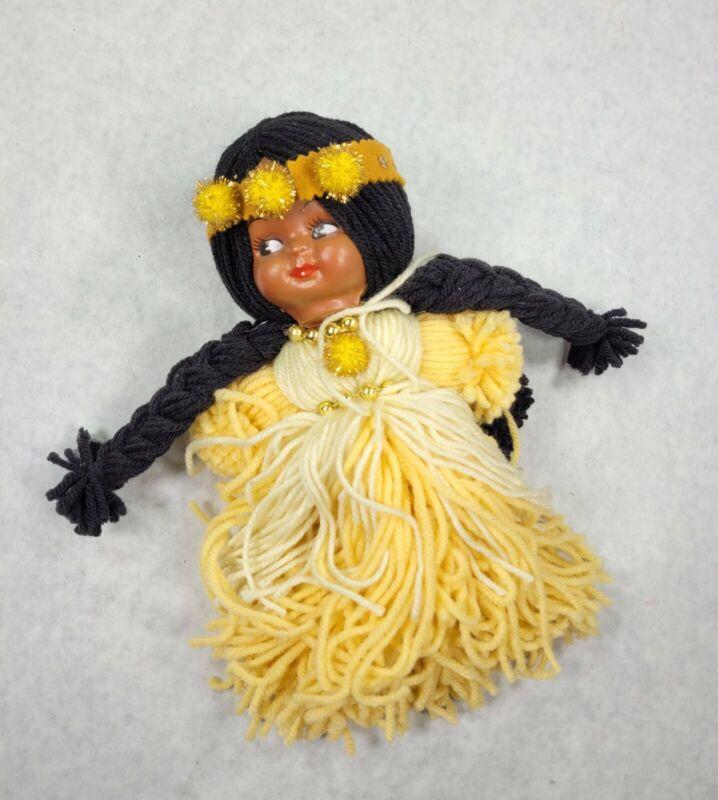 "Vintage Handmade Yarn American Indian Doll - Girl  Yellow Yarn Black Hair 11"""