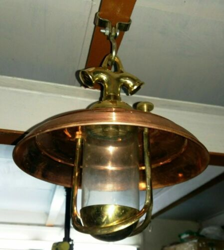 NAUTICAL STYLE BRASS HANGING PENDANT LIGHT WITH COPPER SHADE 1 PS