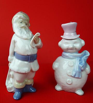 LLadro  Santa and Snowman Ornaments  1991 Porcelain Handmade in Spain   C65