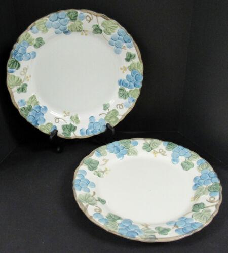 "Set Of 2 Vintage Metlox Poppy Trail Sculptured Grapes 10"" Dinner Plates"
