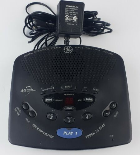 GE 29869GE2 Voice Time-Day Stamp Digital Voicemail Messaging System 4 Mailboxes