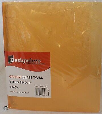 New Jam Paper Plastic 3 Ring Binder Orange 1 Inch Glass Twill W Inside Pockets